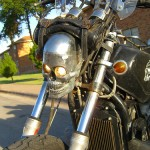 A newly dimmed headlight fitted with defuses.
